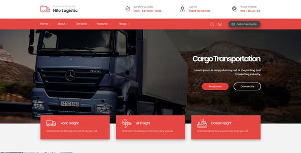 Nile - Transportation and Logistics PSD Template