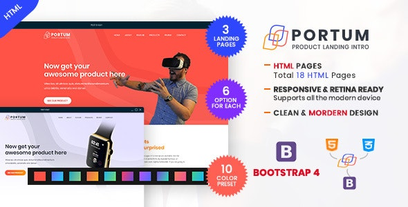 Portum - Single Product Landing Intro Page HTML Template - Technology Landing Pages