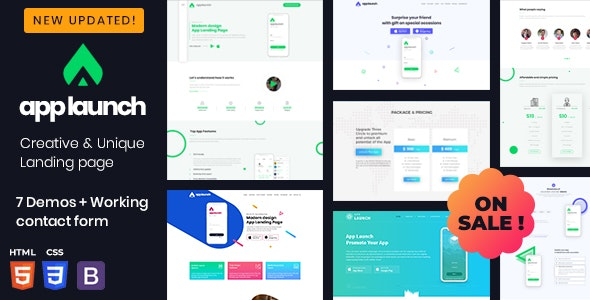 AppLaunch - One Page App Template - Technology Site Templates