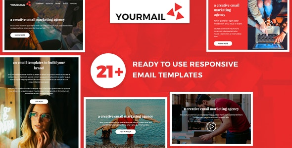 Yourmail - 21 High Converting Email Marketing Templates + Fully Responsive + Powerful Online Builder - Email Templates Marketing
