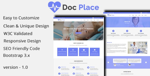 DocPlace - Health and Medical HTML Responsive Template. - Health & Beauty Retail