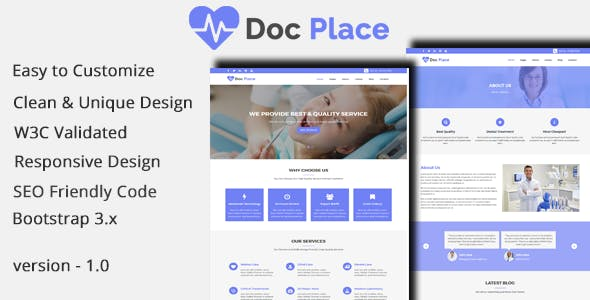 DocPlace - Health and Medical HTML Responsive Template.