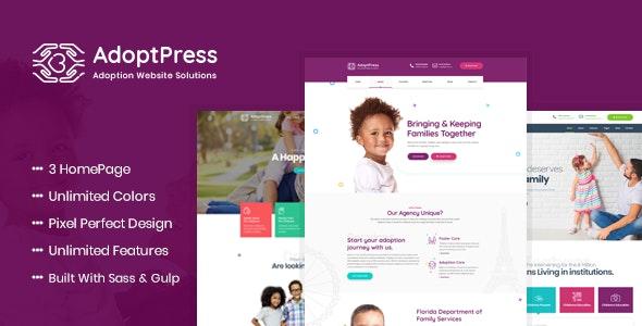 AdoptPress - Child & Pet Adoption Charity HTML Template - Charity Nonprofit