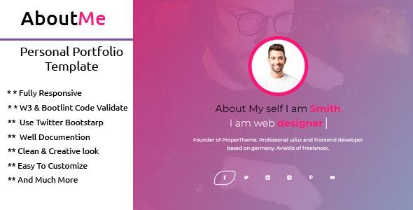 AboutMe   Personal Portfolio Template - Portfolio Creative