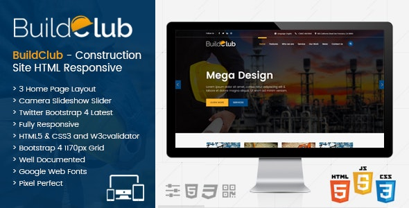 BuildClub - Construction Template for Architect and Construction - Business Corporate