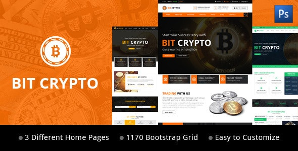 Bit Crypto - Bitcoin and Cryptocurrency PSD Template - Business Corporate