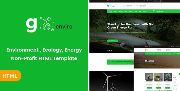Goenviro - Environmental , Energy, Non-Profit HTML Template - Nonprofit Site Templates