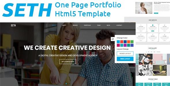 Seth - One Page Portfolio Template - Portfolio Creative