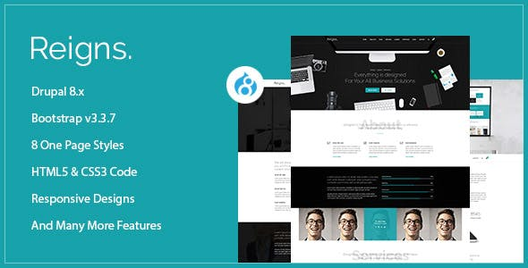 Reigns - Professional One Page Drupal 8.9 Theme