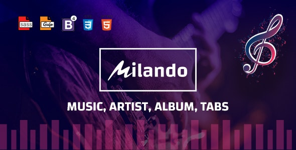 Milando - Music Portal With Track Playback Online Store and Musical Staff Multi Color HTML Template - Music and Bands Entertainment