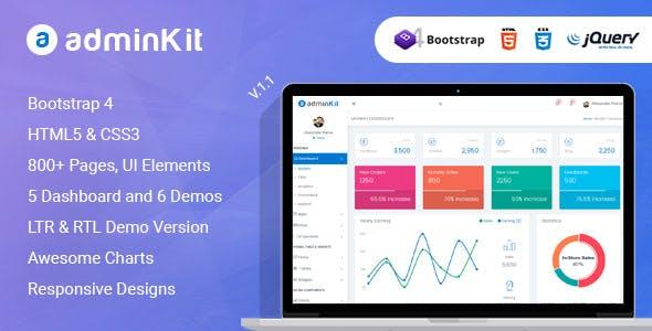 AdminKit - Multipurpose Bootstrap 4.0 Admin Templates