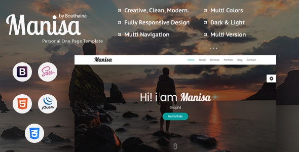Manisa - Personal One Page Template - Personal Site Templates