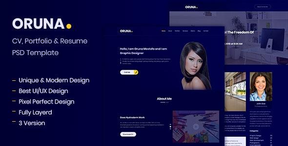 Oruna CV, Portfolio & Resume PSD Template - Portfolio Creative