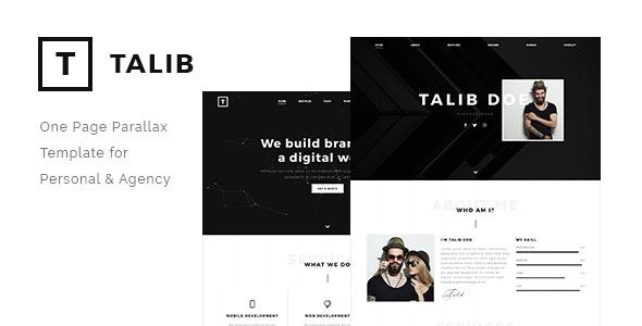 Talib - One Page Parallax Template for Personal & Agency - Portfolio Creative