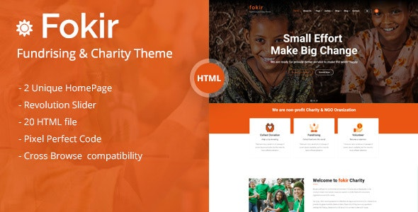 Fokir - Charity and Fundraising HTML template - Nonprofit Site Templates