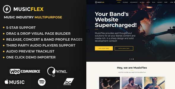 MusicFlex - WordPress Theme for Musicians - Music and Bands Entertainment