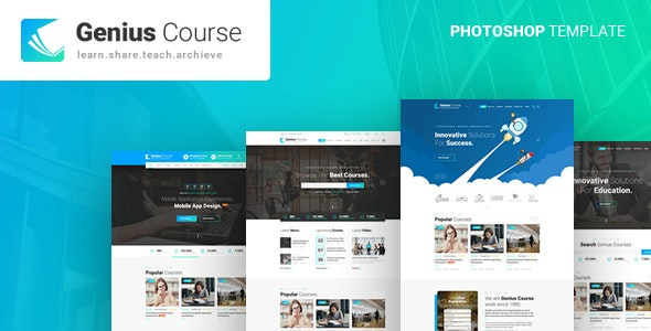 Genius - Learning & Course PSD Template - Business Corporate