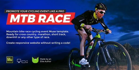 MTB Race - Mountain Bike Racing / Marathon / Cycling Event Website Muse Template - Miscellaneous Muse Templates