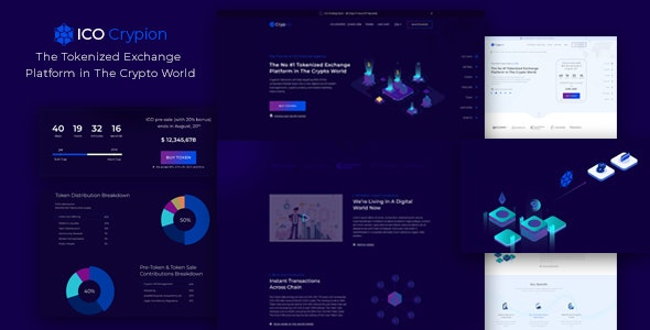 ICO Crypion – Bitcoin and Cryptocurrency Landing Page PSD Template - Marketing Corporate