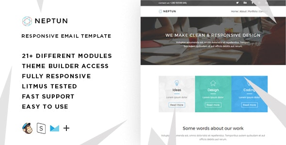 Neptun – Responsive HTML Email + StampReady, MailChimp & CampaignMonitor compatible files - Email Templates Marketing