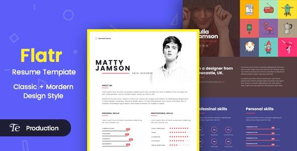 FLATR - One Page Resume & Portfolio HTML Template - Portfolio Creative