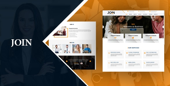 Join One Page Responsive HTML Template - Corporate Landing Pages