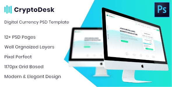 CryptoDesk - A Crypto Currency PSD Template - Technology Photoshop