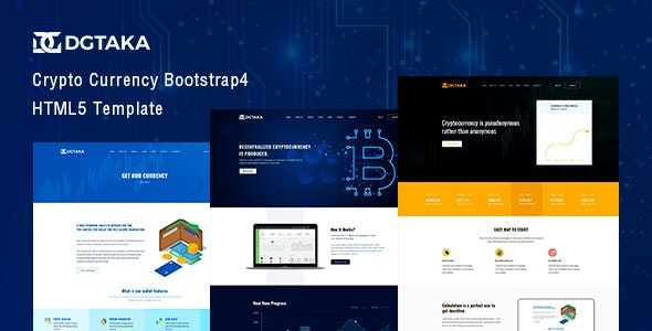 Dgtaka - Cryptocurrency Bitcoin HTML Template - Business Corporate
