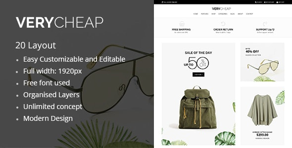 Verycheap eCommerce PSD Template - Retail Photoshop