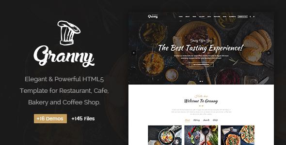 Granny - Elegant Restaurant & Cafe HTML Template - Restaurants & Cafes Entertainment