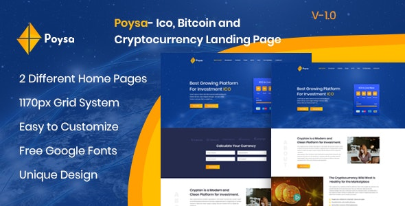Poysa  - Bitcoin and Cryptocurrency PSD Template - Marketing Corporate