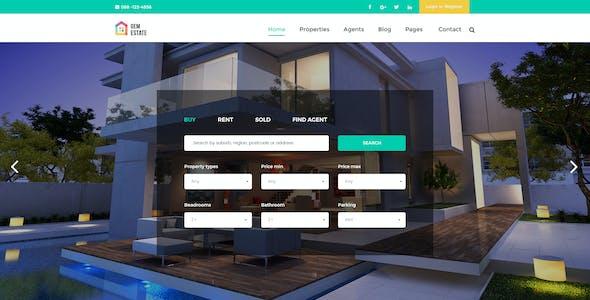 GEMESTATE - Modern Real Estate & Rental PSD Template