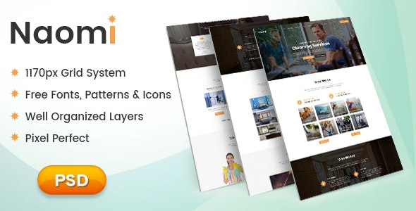 Naomi - One Page PSD Template for Cleaning Services - Business Corporate