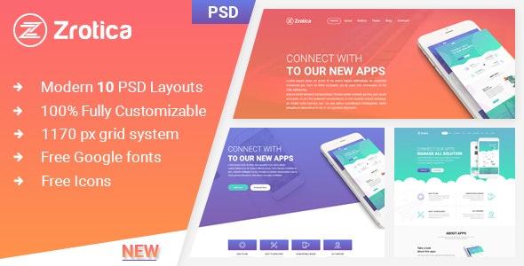 Zrotica - App Landing PSD Template - Photoshop UI Templates