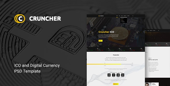 Cruncher -  ICO and Cryptocurrency PSD Template - Marketing Corporate