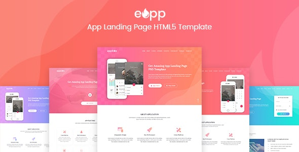 eApp - 5 in 1 App Landing Page - Software Technology