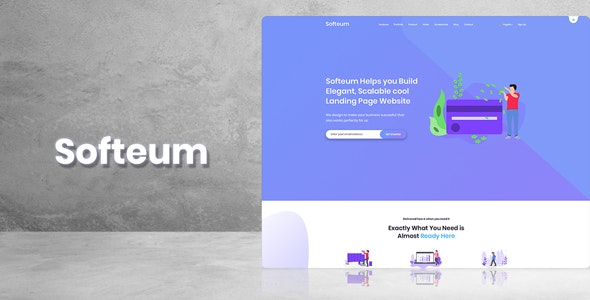 Softeum - Software, App & Product Showcase Landing PSD Design - Software Technology