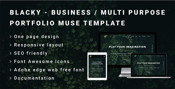 BLACKY - Business or Multi Purpose Portfolio Muse Template - Landing Muse Templates