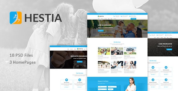 Hestia - Insurance Agency & Business PSD Template - Miscellaneous Photoshop