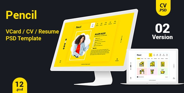 Virtual Business Card  CV Resume PSD Template - Personal Photoshop