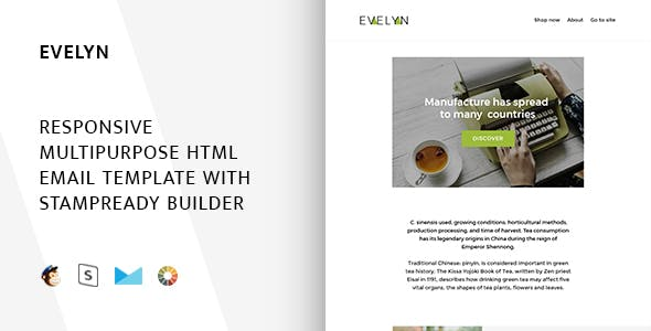 Evelyn - Responsive Email + StampReady, MailChimp & CampaignMonitor compatible files