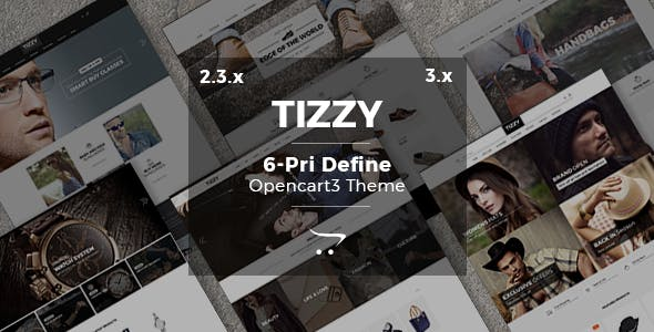 Tizzy - Multipurpose Responsive | Fashion | Watch | Bag | Shoes | Hat And Sunglasses Opencart 3.X