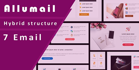 Allumail 7 Responsive Email Template set + Stampready Builder + Email On Acid tested - Email Templates Marketing
