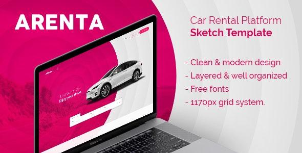 Arenta - Car Rental Platform Sketch Template - Business Corporate