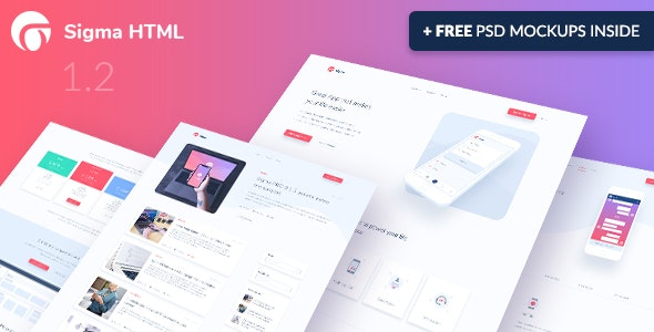 Sigma — App Landing Page HTML Template + Stylish Cost Calculator - Software Technology
