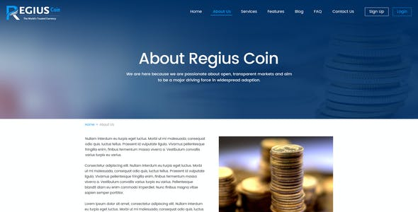 Regius Coin PSD Template