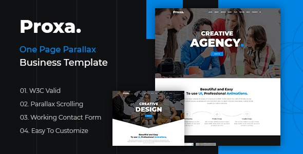 Proxa - One Page Parallax - Creative Site Templates