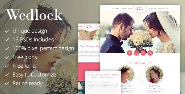 Wedlock - Wedding & Wedding Planner PSD Template - Miscellaneous Photoshop