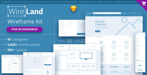 Wireland for Ecommerce - Massive Wireframe Library Collection - Creative Sketch