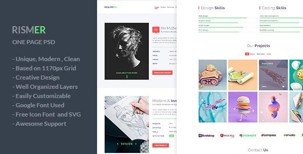 Rismer - One Page Resume and Portfolio PSD Template - Portfolio Creative